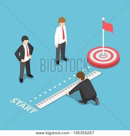 Isometric Businessman Measuring Distance Between Start Point And Target