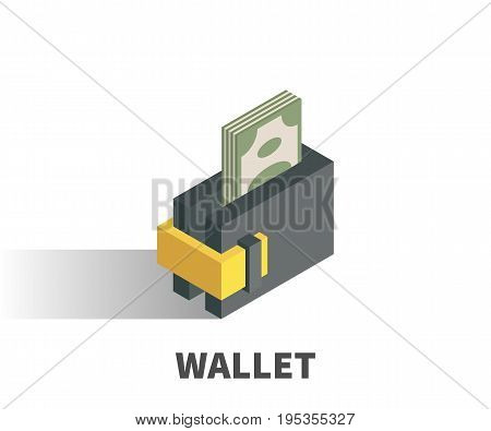 Wallet icon vector symbol in isometric 3D style isolated on white background.