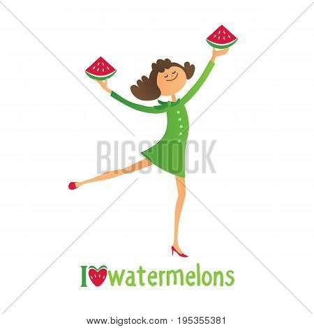 Watermelon poster concept. Hand drawn cartoon retro style. Fancy letters I love watermelons. Beautiful young woman with red summer fruit slices. Banner background template vector illustration