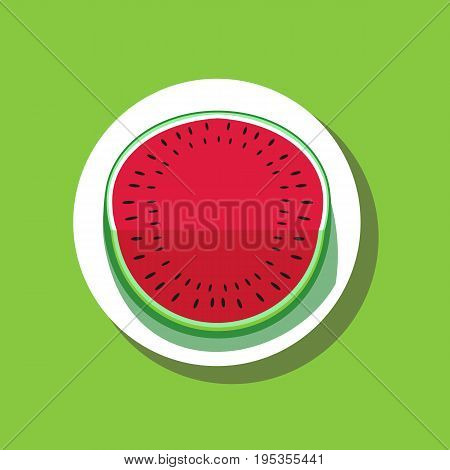 Watermelon poster concept. Food icon isolated on white. Hand drawn cartoon retro style. Pop art. Bright red, green color of watermelons. Summer time fruit. Banner or logo template vector illustration