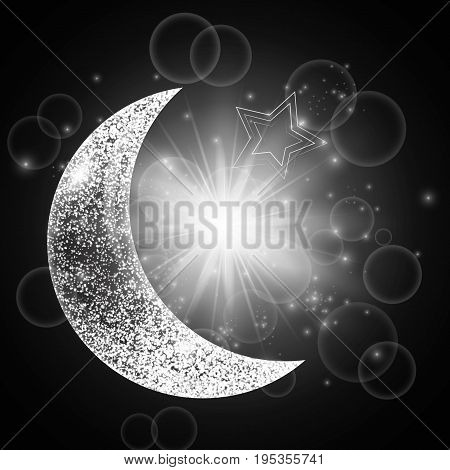 Ramadan kareem arabic art. Glitter sparkle background with brilliant light, a crescent moon and star.