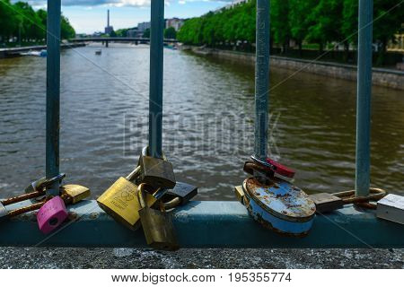 Love Locks On The Theatre Bridge, In Turku