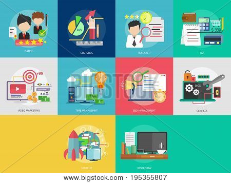 Business and Finance Conceptual Design | Set of great flat design illustration concepts for business, finance, marketing and much more.
