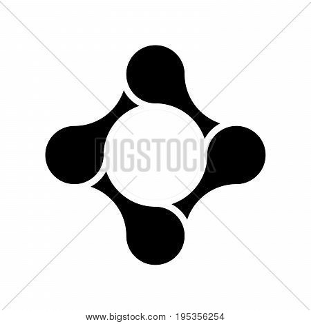 Four pieces of bicycle chain. Team cooperation and connection theme. Vector illustration in black and white.