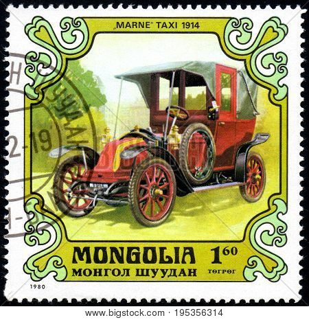 UKRAINE - CIRCA 2017: A postage stamp printed in Mongolia shows motorcar Marne taxi France 1914 from the series Antique Cars circa 1980