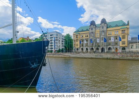 City Hall And The Aura River, In Turku