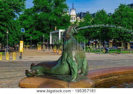 Havis Amanda Statue And Fountain, In Helsinki