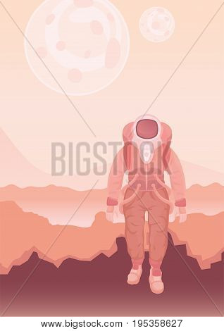 Astronaut in a spacesuit on Mars or another planet. Rocky desert alien landscape. Vector illustration.