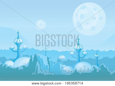 The city of the future, a space colony. Human settlement with futuristic buildings on Mars or another planet. Vector illustration.