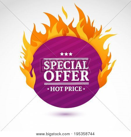 Template design circle banner with Special sale. Purple round card for hot offer with frame fire graphic. Advertising poster layout with flame border on white background. Vector