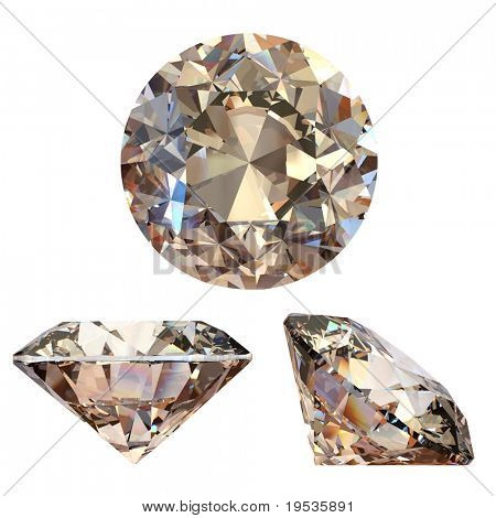 Collection of round cognac diamond isolated on white background. Gemstone