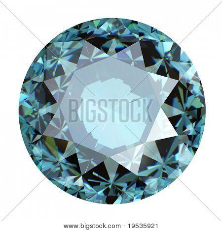 Round sky blue topaz isolated on white background. Gemstone