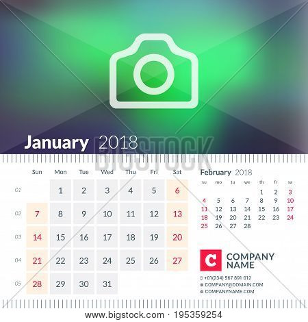 Calendar For January 2018. Week Starts On Sunday. 2 Months On Page. Vector Design Template With Plac