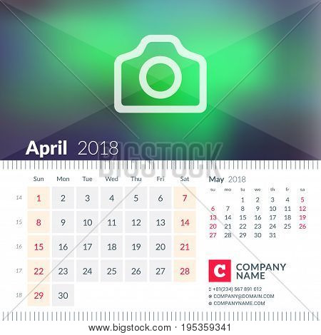 Calendar For April 2018. Week Starts On Sunday. 2 Months On Page. Vector Design Template With Place