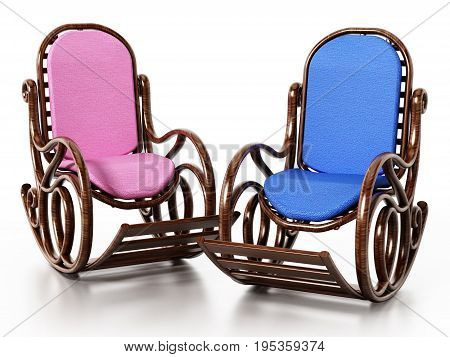 Wooden rocking chairs isolated on white background. 3D illustration.