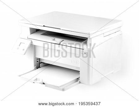 Modern white printer isolated on white background