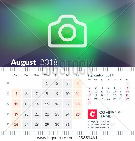 Calendar For August 2018. Week Starts On Sunday. 2 Months On Page. Vector Design Template With Place