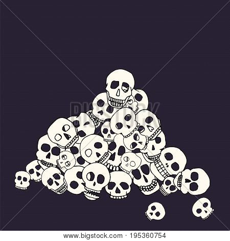 Hand drawn skull pile. Stock vector illustration of human head doodles in a heap