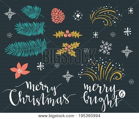 Template for Greeting Scrap booking Congratulations Invitations stickers. Vector illustration with lettering 'merry christmas' 'merry and bright' and isolated christmas brahches.