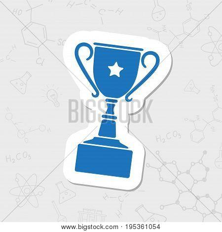 Vector flat sticker trophy goblet icon on white background . Winner award