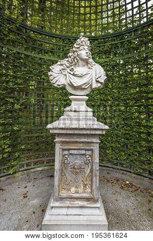 Linderhof, Germany - September 2016: Ludwig II statue  in the park of Linderhof palace