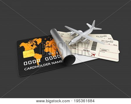 A Boarding Pass Tickets. 3D Illustration Isolated Black.