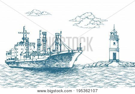 Cargo ship, reefer Forwin. Vector illustration. Traced image. It can be used as background on the web site or in the design of postcards, leaflets and other printed products