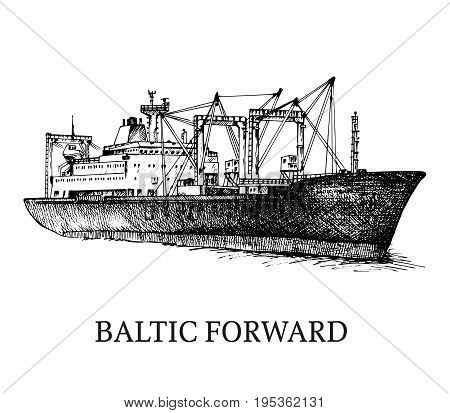 Cargo ship, reefer Baltic Forward. Vector illustration. Traced image. Original drawings by hand, you can also find in my portfolio BITMAP folder.