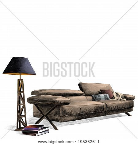 the interior of the leather sofa next to a floor lamp near the sofa with books sketch vector graphics color picture