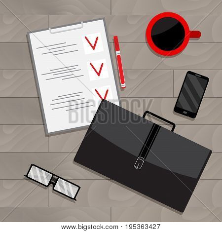 Business planning view top vector. Plane strategy business vectoir project plan illustration of planning process