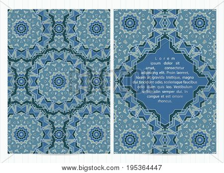 A4 Size Cards Decorated With Mandala In Blue Color With Silver Inserts. Vector Template In Eastern,