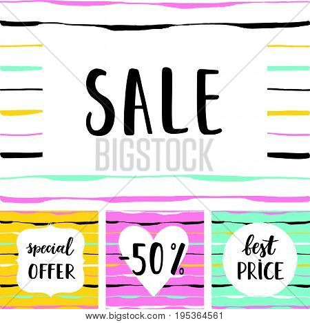 Sale poster with Best price -50% Special offer lettering. Advertising vector banner template.