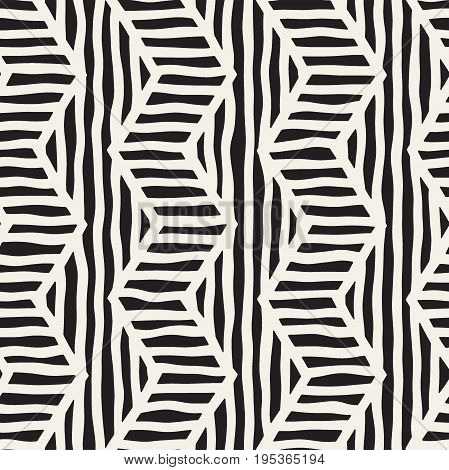 Vector seamless hand drawn pattern. Zigzag and stripe rough lines. Tribal design background. Ethnic black and white doodle texture.
