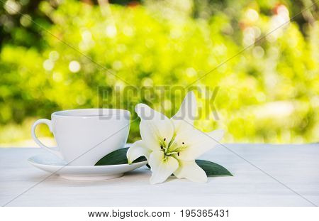 White coffee cup and white lily on the table. Purity and tenderness. Morning coffee in the garden. Copy space