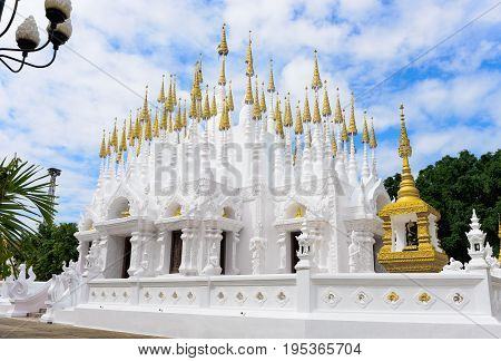 Phrae Thailand - December 15 2016: The beautiful white pagodas of Wat Phong Sunan or Phong Sunan Temple Phrae Province North of Thailand.