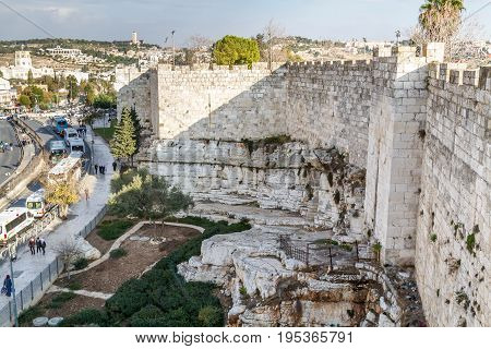 JERUSALEM ISRAEL - DECEMBER 8: View of Jerusalem from Old City Wall near the Damascus Gate Old City of Jerusalem Israel on December 8 2016