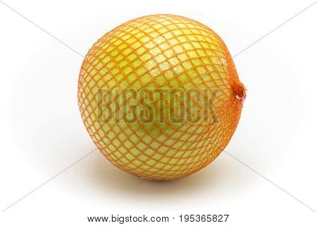 Ripe fruit pomelo close up on a white background.