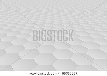 White monochrome hexagon tiles, perspective, abstract background horizontal