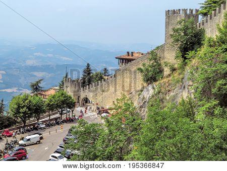 San Marino San Marino Republic - June 16 2017: Wall of the Castle in San Marino
