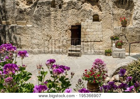 Entrance to the tomb. The Garden Tomb outside the walls of the Old City of Jerusalem Israel