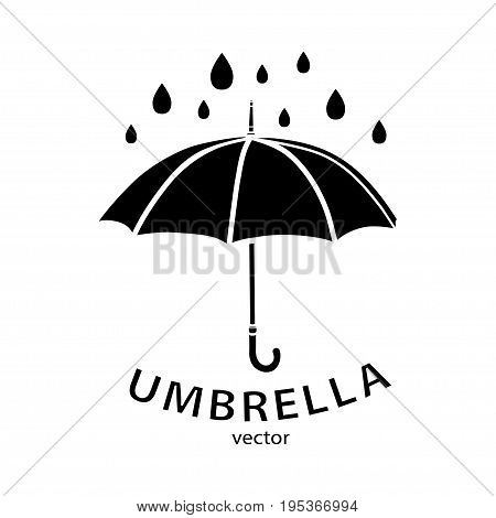 Umbrella icon, vector logo. Black umbrella silhouette, raindrops and text isolated on white background