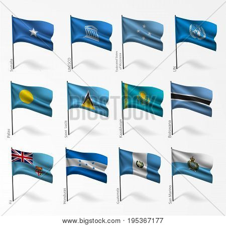 Collection set of flags of world on flagpole