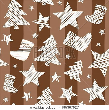 Christmas background, sock, star, tree, seamless, brown, vector.  White Christmas trees, socks and stars are drawn with a diagonal bar on a brown striped background.