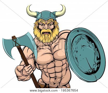 An illustration of a tough looking Viking Warrior mascot with axe and shield