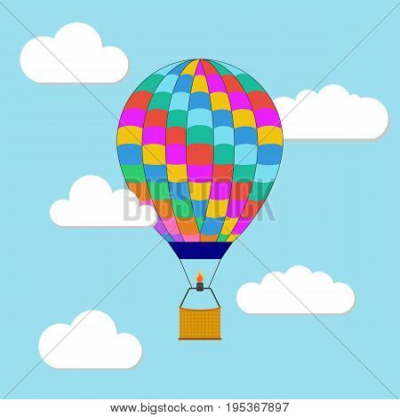Hot air balloon in the sky. Hot air balloon in the sky with cloud background. Flat air balloon with clouds web icon. Vector illustration.