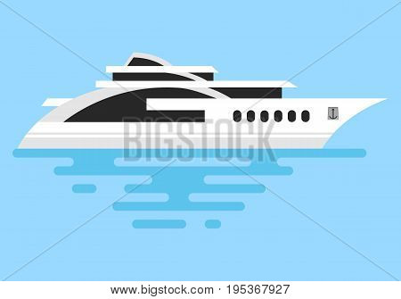 Ship at sea, ocean transport vector icon. Luxury travel seaway ocean transport yacht. Vector image of a boat on a blue background.