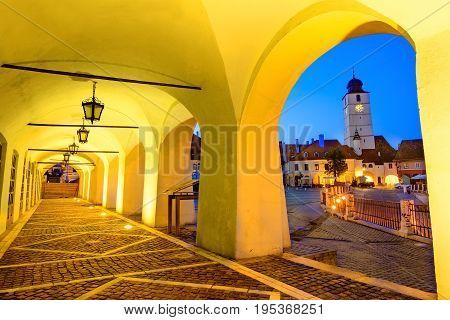Council Tower In Small Square, ..sibiu,transylvania, Romania.