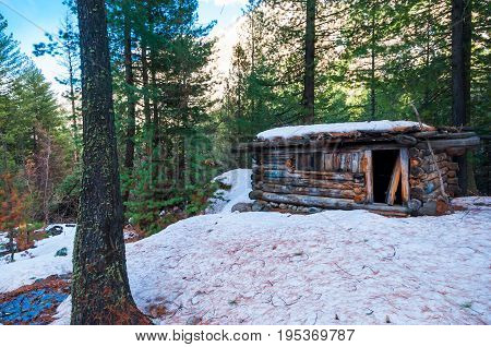 A cabin sits among the trees in the winter. This is in the Pakistan