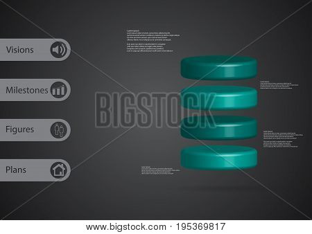 3D Illustration Infographic Template With Cylinder Horizontally Divided To Four Blue Slices