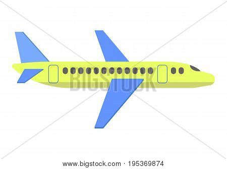 Plane vector. Aircraft is isolated on white background. Color flat icon. Transportation touristic aircraft.